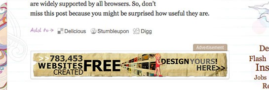 WebDesignerWall Uses In Content Adverts, That Just Blend In With The Site Design