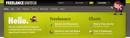 Freelance Switch Uses This Splash Header To Direct People Where To Go