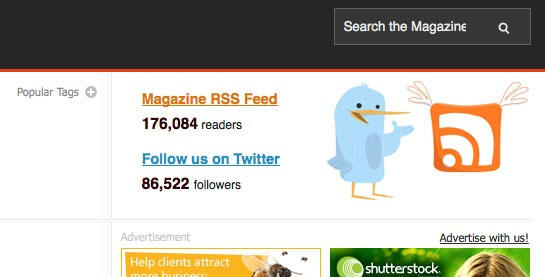 Smashing Magazine Uses A Beautiful But Simple RSS And Twitter Count