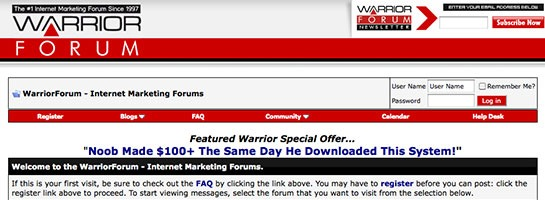 warriorforum 20 Websites That Will Make You A Better Blogger