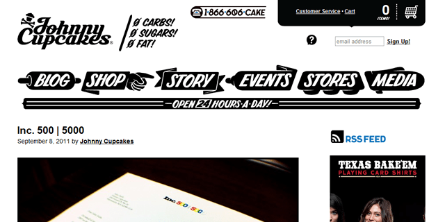 Johnny Cupcakes Blog Design