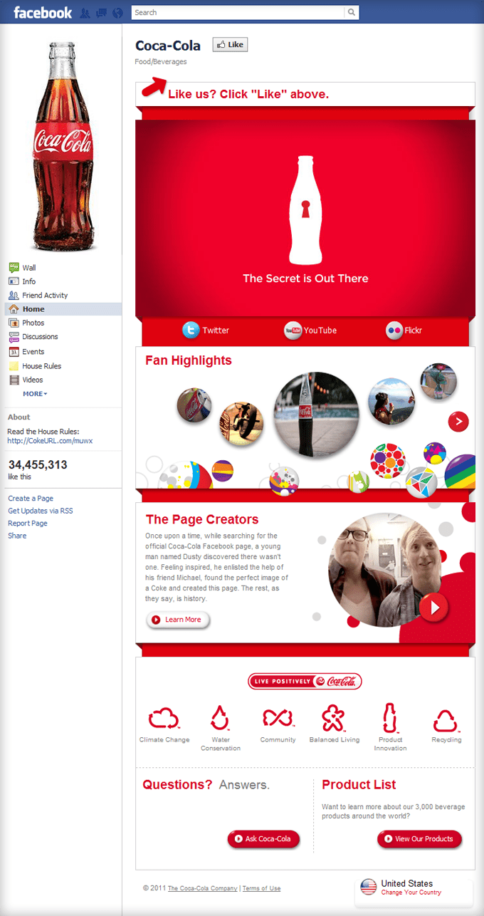Fan Pictures on Facebook Page Coca Cola Facebook Page
