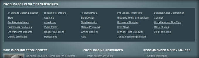 Problogger Footer Categories