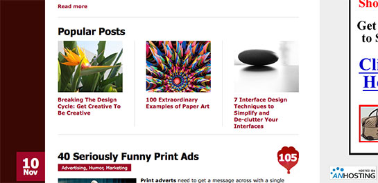 Popular Posts Are Listed Within Content On The Web Designer Depot Homepage