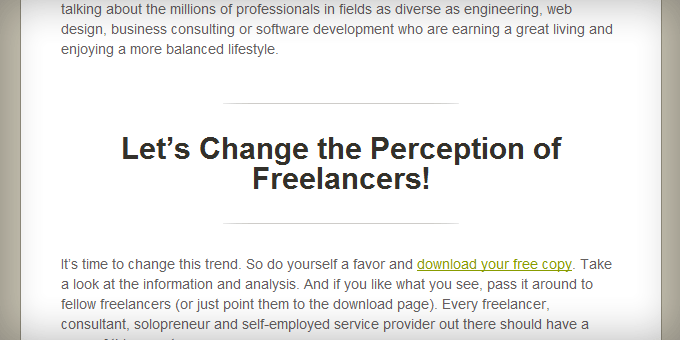 Subheaders Styling Freelance Switch