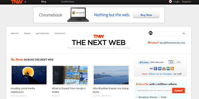 The Next Web Blog Design
