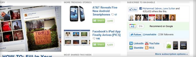 Mashable Social Icons Sidebar