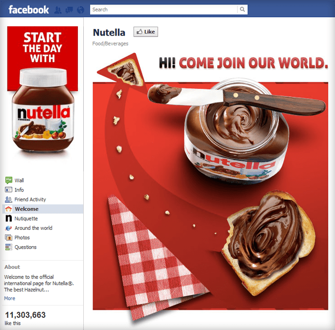 Nutella Facebook Page