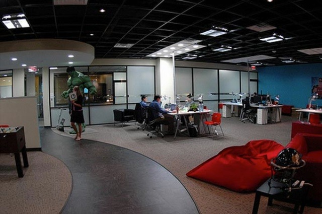 Top 20 Most Awesome Company Offices How To Make Money Online : Income Diary Awesome Office 14518 Green <strong>Leather Chair</strong> from www.incomediary.com size 640 x 425 jpeg 93kB