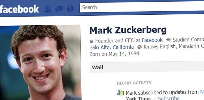 Mark Zuckerberg's Facebook Profile
