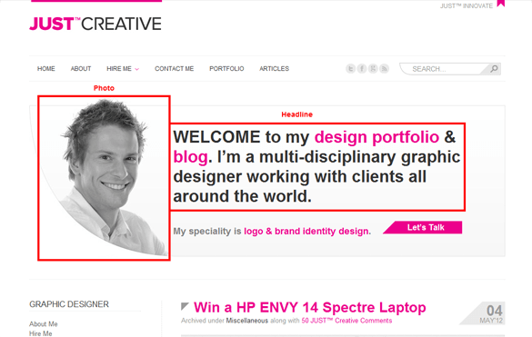 Blog Homepage Just Creative