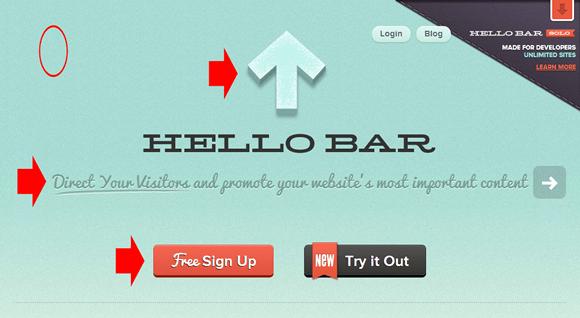Gradients Shadows Textures - Hello Bar