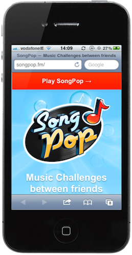 Songpop's mobile landing page