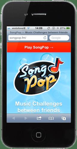 Pagina di destinazione mobile di Songpop