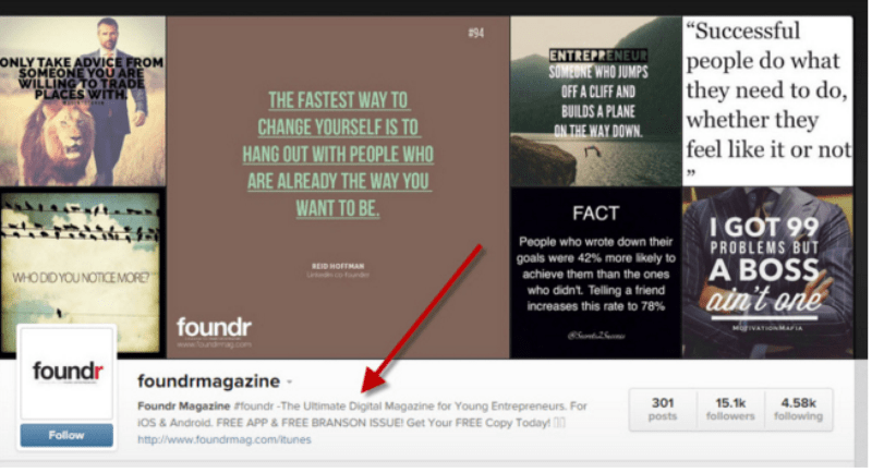 Foundr Magazine is a great example of creating amazing visual content on Instagram.