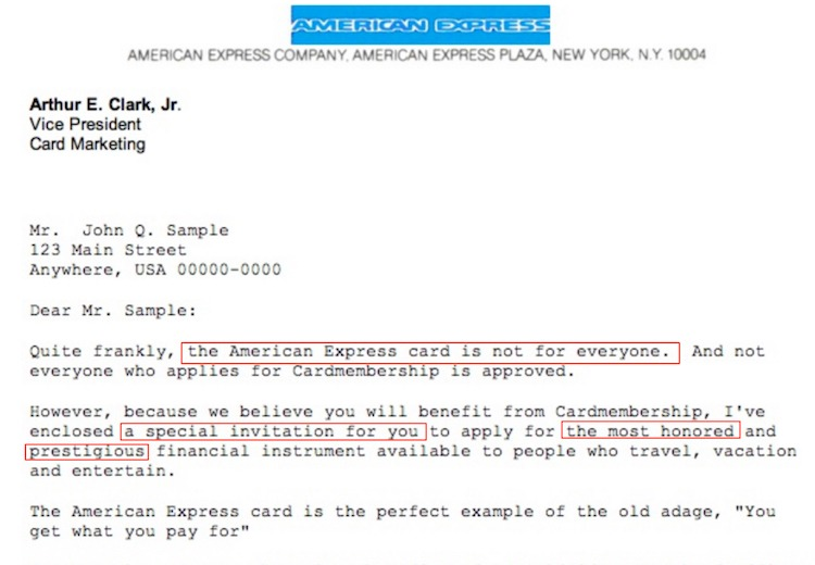 American express sales letter inspired copywriters