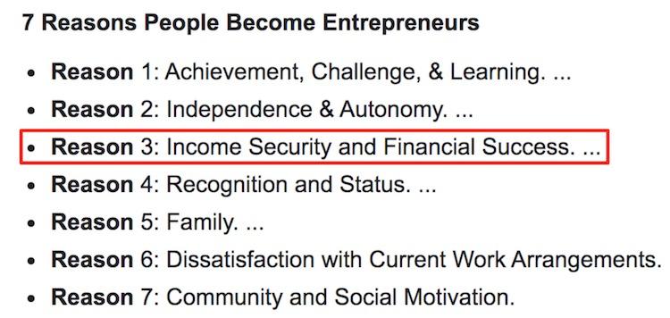 Reasons People Become Entrepreneurs