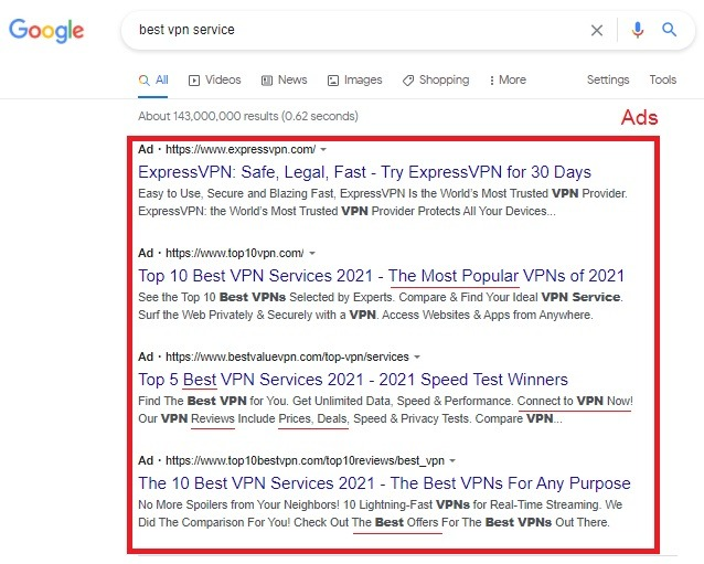 How to find keywords using Google search